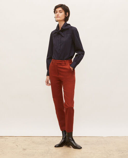 Pantalon chino 7/8e fuselé en coton BRANDY BROWN