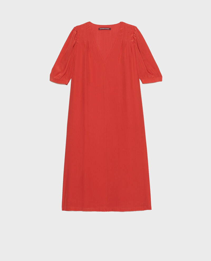 Robe longue ample fluide en soie col V Valiant poppy Manthes
