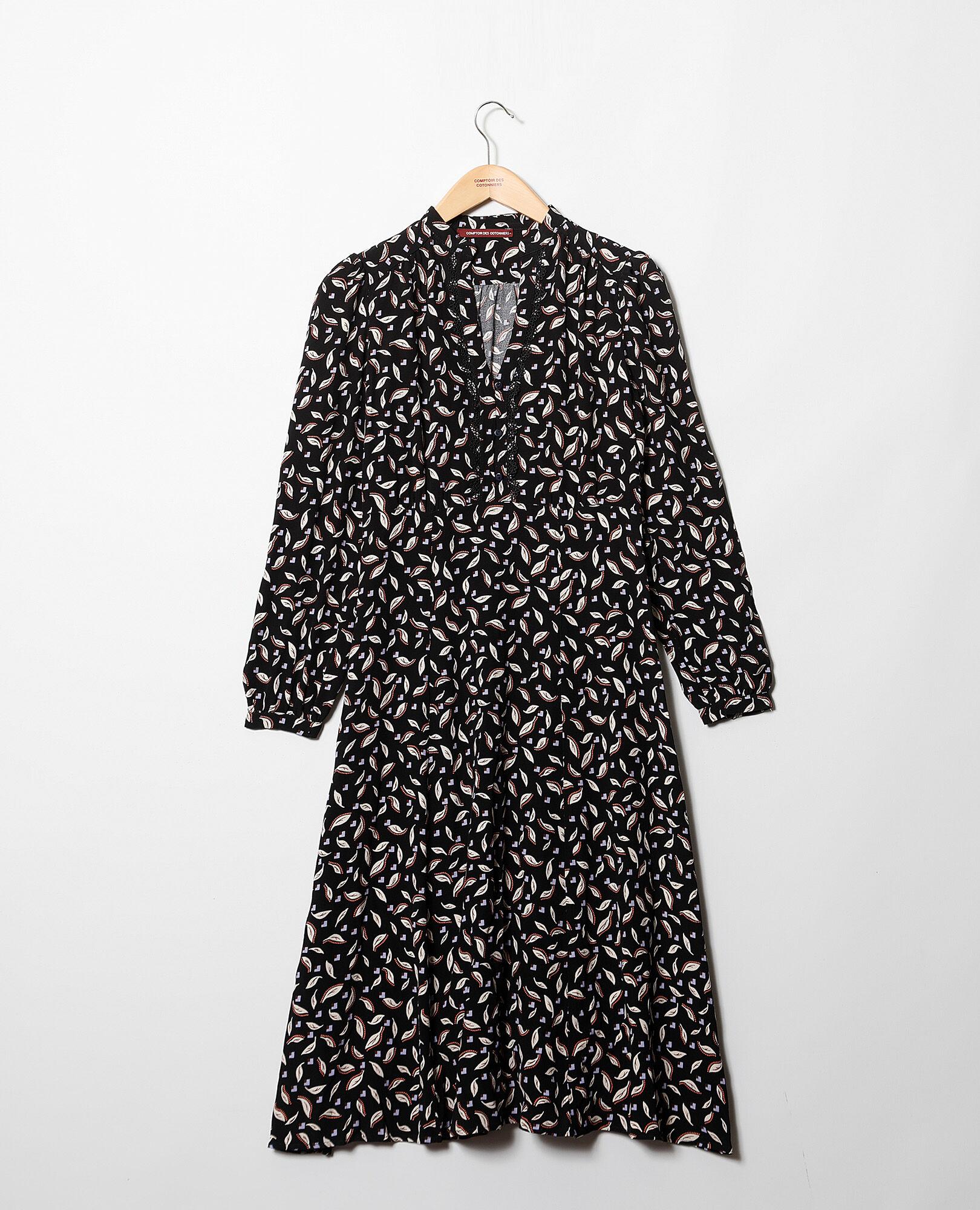 Gaetane Des Comptoir Robe Cotonniers Noir Imprimée pEwxq0Ix4