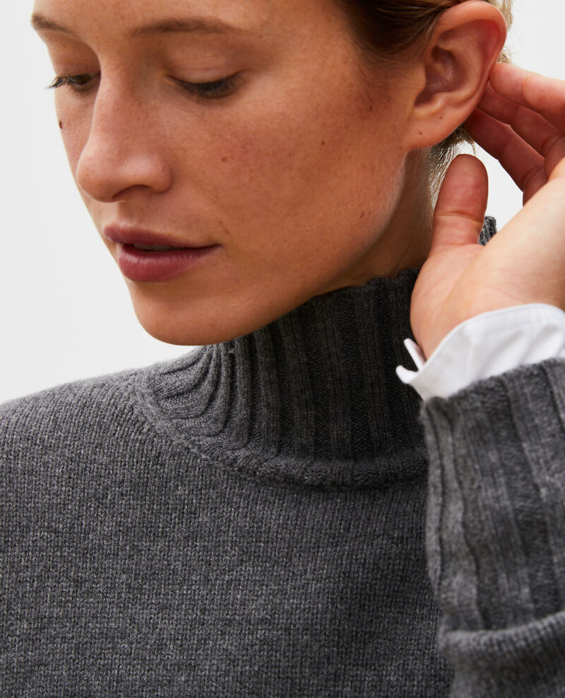 Pull en laine col montant à larges côtes Medium grey melange Marques