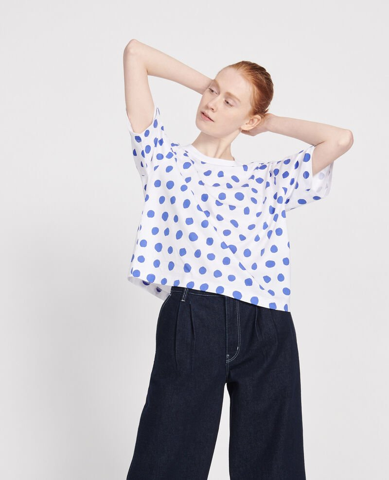 T-shirt boxy à pois en coton Dots amparo blue Lenoyer