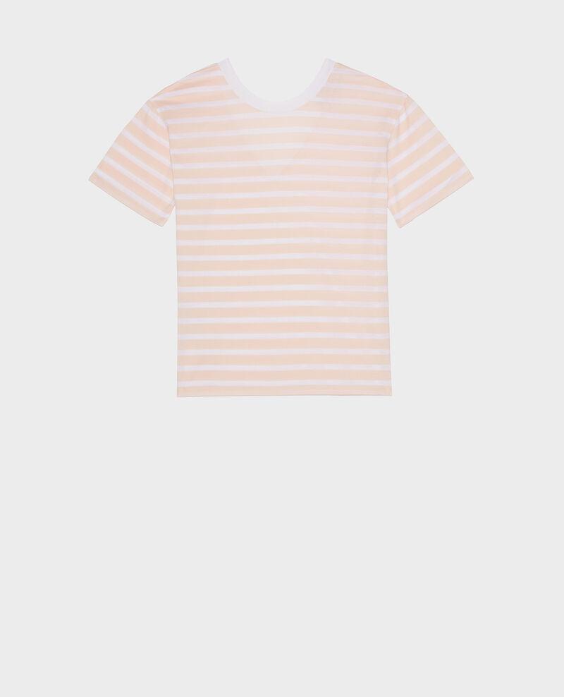 T-shirt en coton égyptien Stripes primrose pink optical white Lisou