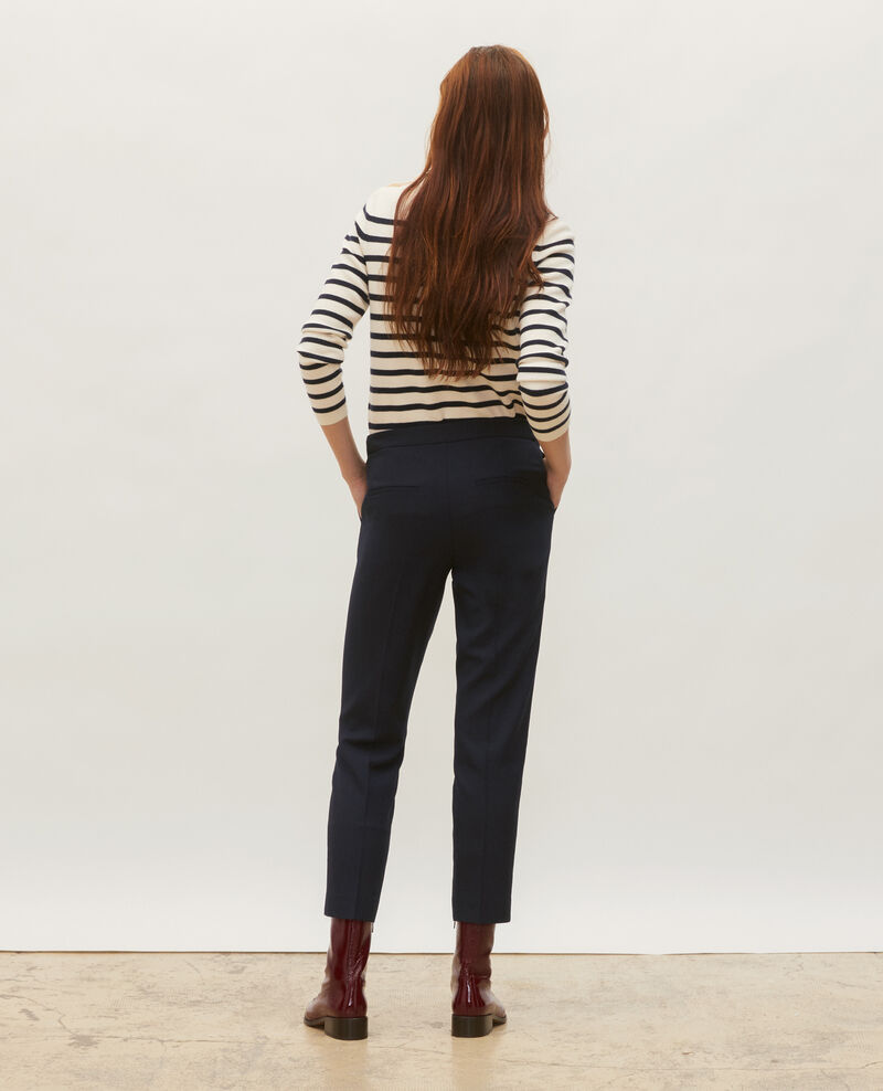 Pantalon MARGUERITE, 7/8e cigarette en laine Night sky Moko