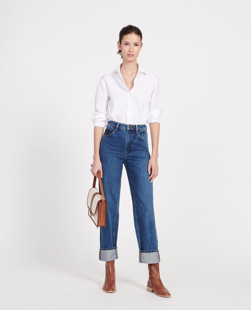 Jean délavé coupe droite Denim medium wash Leodou