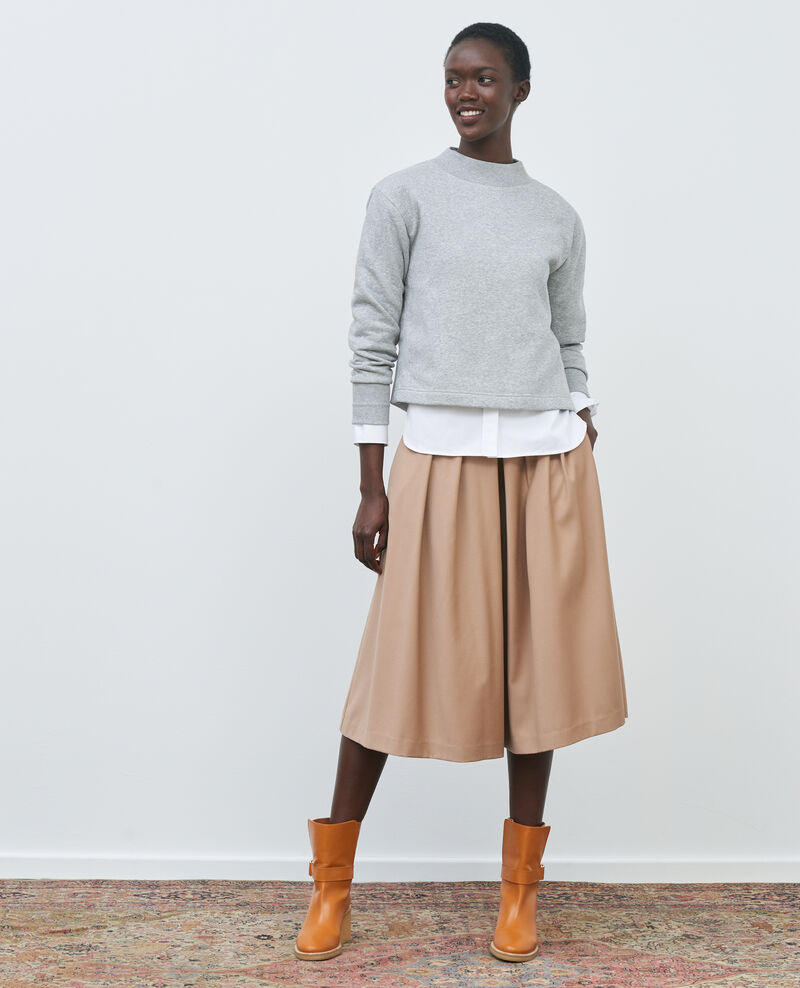 BABETH - Jupe culotte à plis en laine et cachemire Amphora Marby