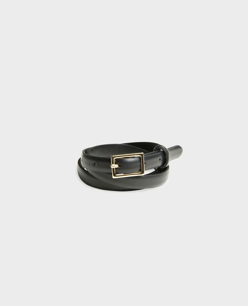 Fine ceinture cuir boucle rectangulaire Black beauty Meillard