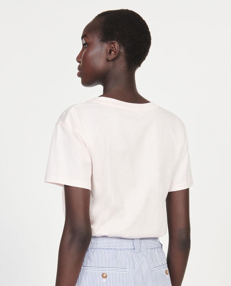 T-shirt en coton à manches courtes col V Primrose pink Laberne