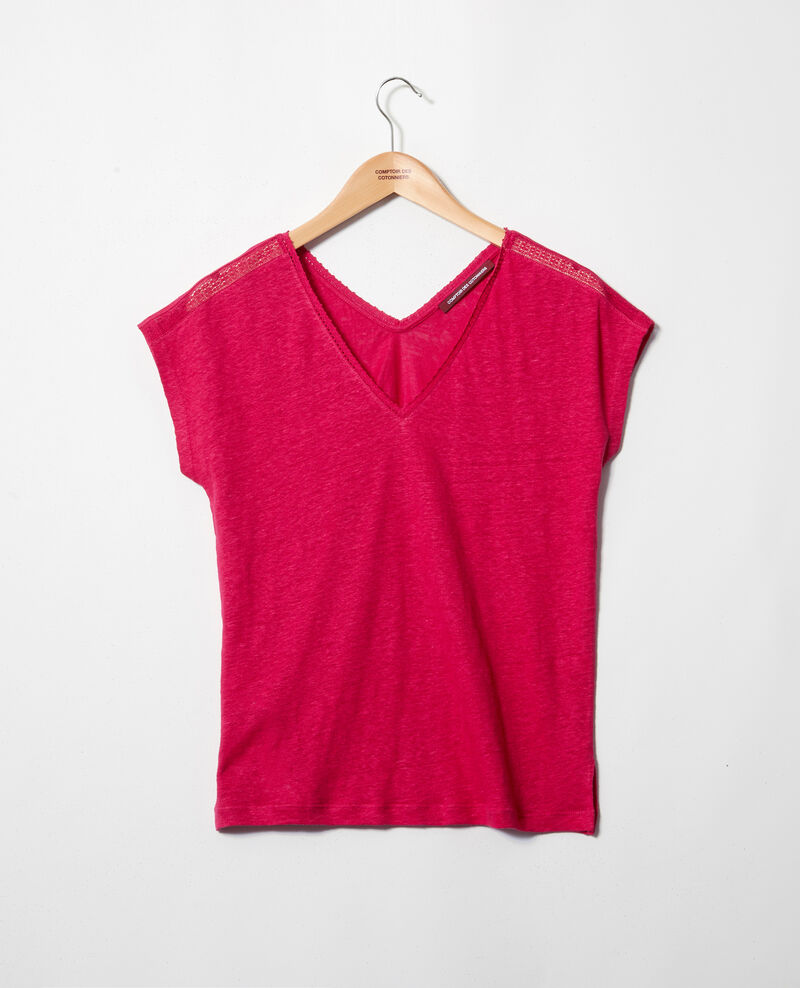 T-shirt en lin Fushia Itlanta