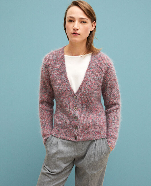 Cardigan chiné en mohair POMPEIAN RED/ULTRA GREEN/OFF WHITE