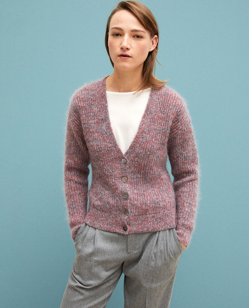 Cardigan chiné en mohair Pompeian red/ultra green/off white Guenael