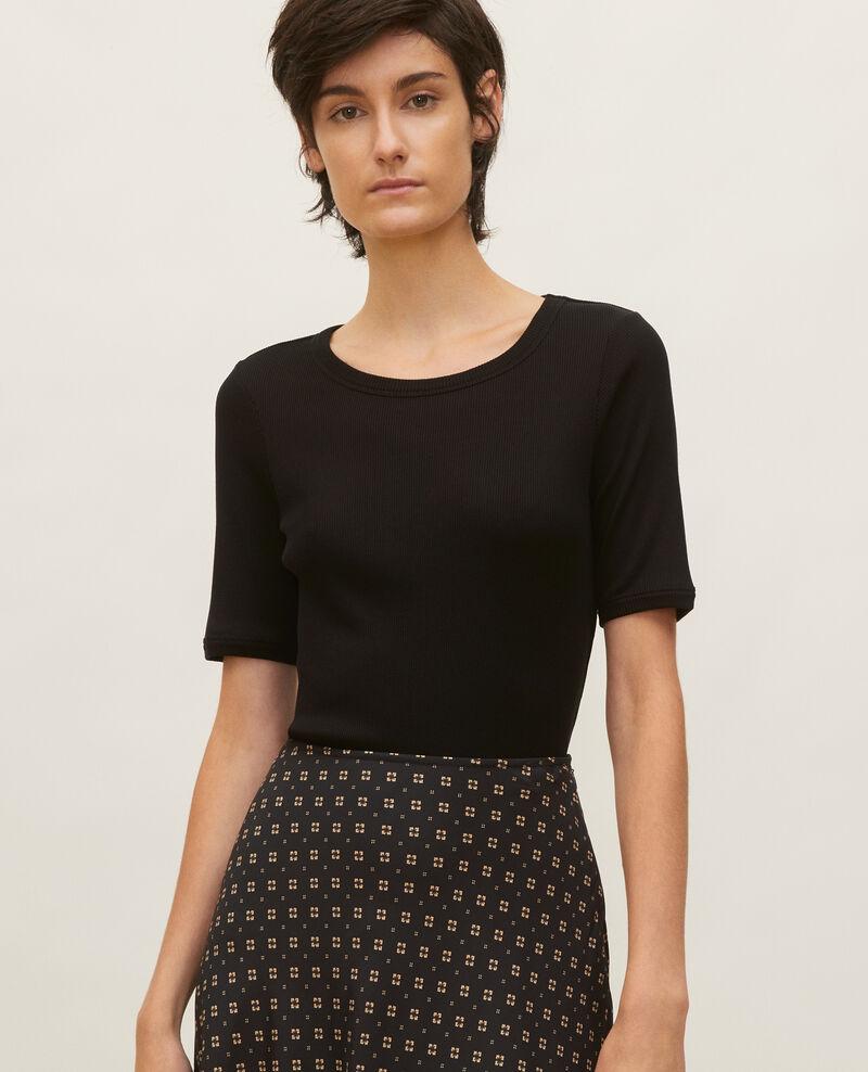 T-shirt fines côtes en coton mercerisé Black beauty Lasso
