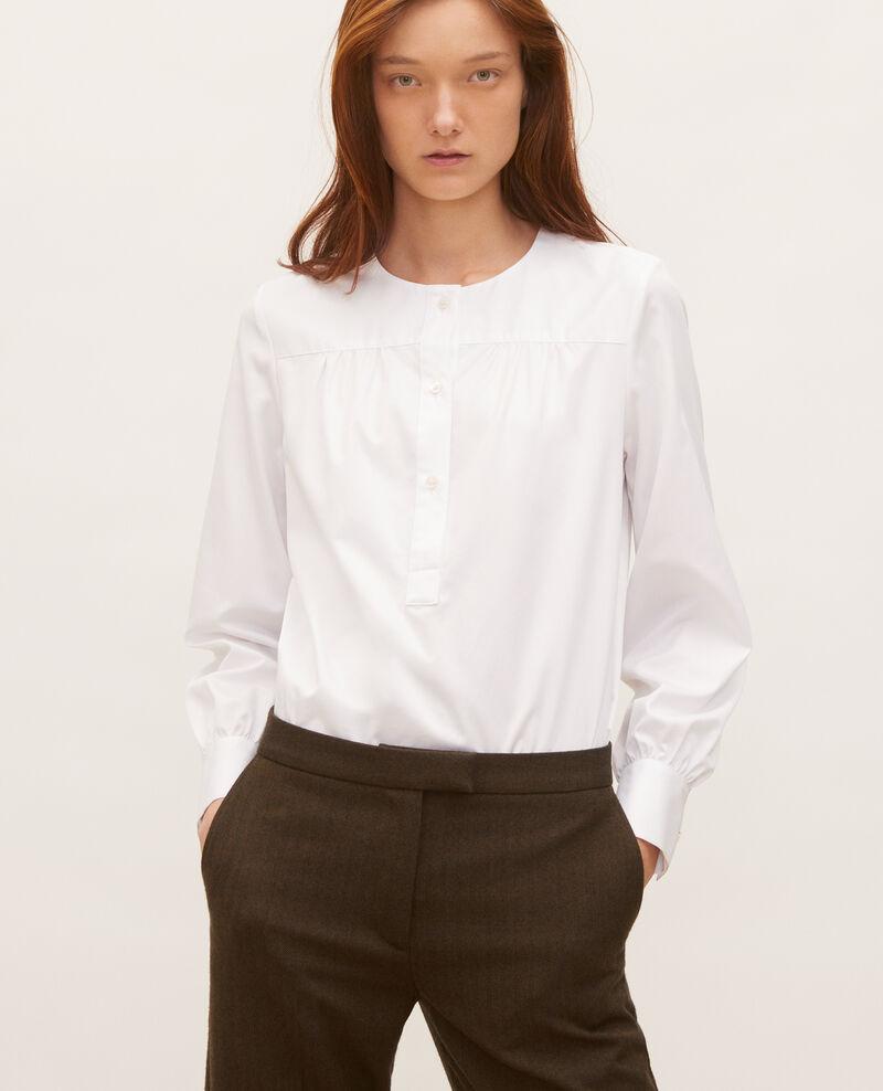 Blouse en coton à col foulard amovible Brilliant white Manosque
