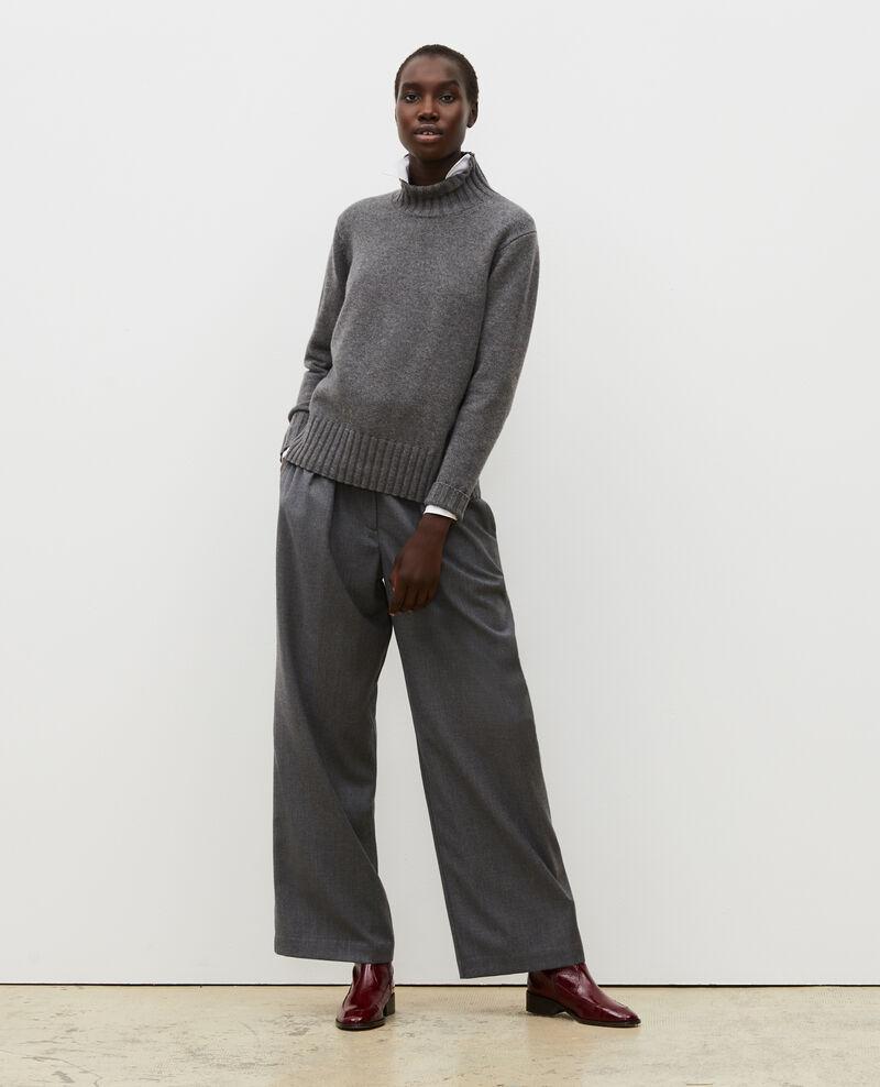 Pantalon YVONNE, large en laine taille haute Medium grey melange Mafare