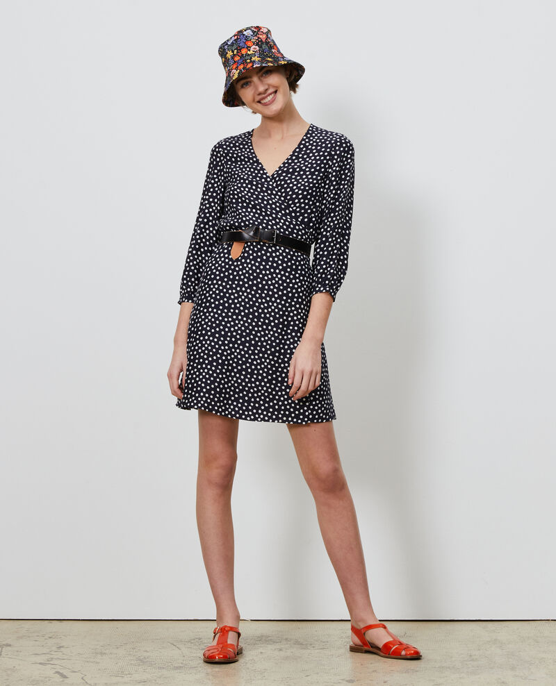 Robe portefeuille en soie Small dots Nireclos