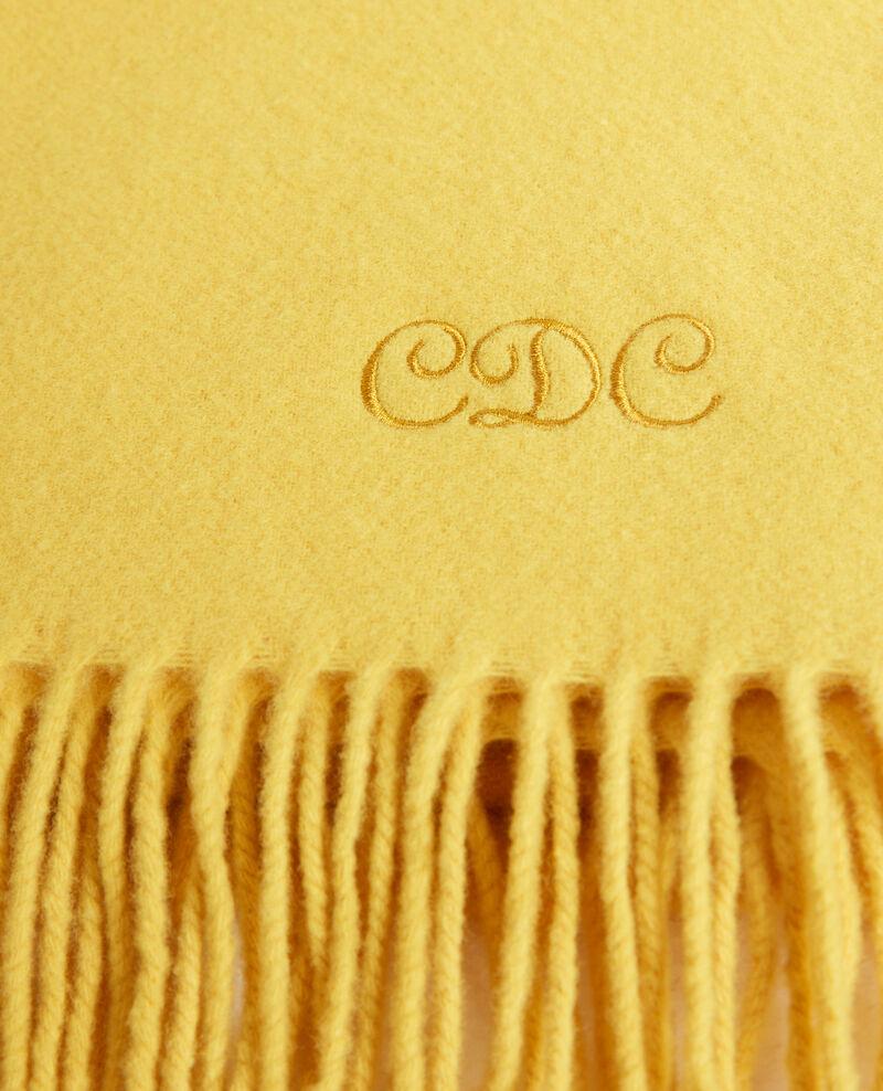 Grande écharpe à franges en laine Lemon curry Mautes