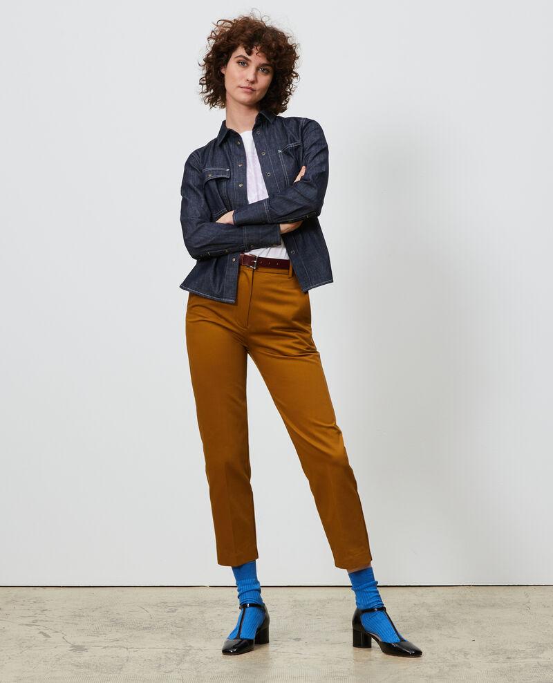Pantalon chino 7/8e fuselé en coton Bronze brown Nezel