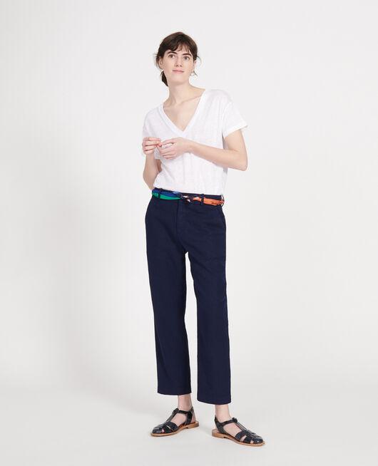 Pantalon droit en lin MARITIME BLUE