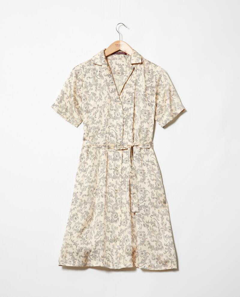 Robe chemise avec de la soie imprimée Bandana light beige Illara