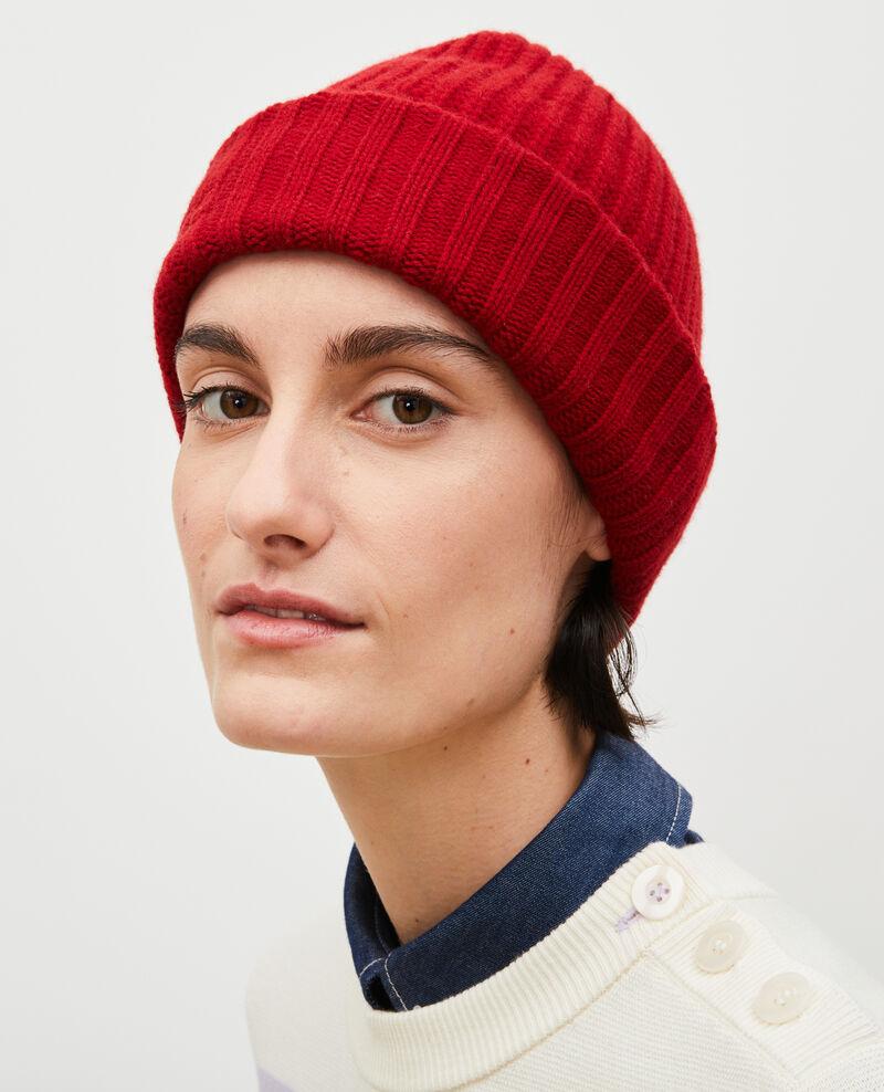 """Bonnet en laine brodé """"CDC"""" Royale red Moeze"""
