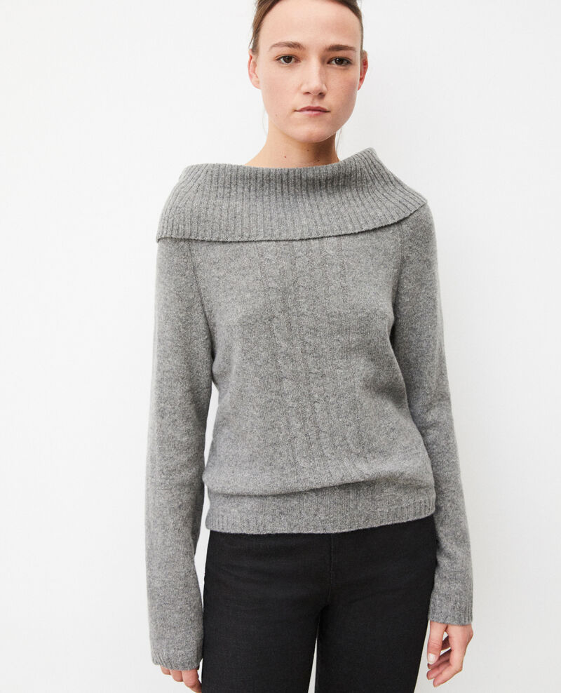 Pull avec détails de torsades Medium heather grey Girma