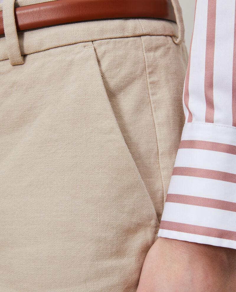 Pantalon 7/8e en coton et lin Oxford tan Laiguillon