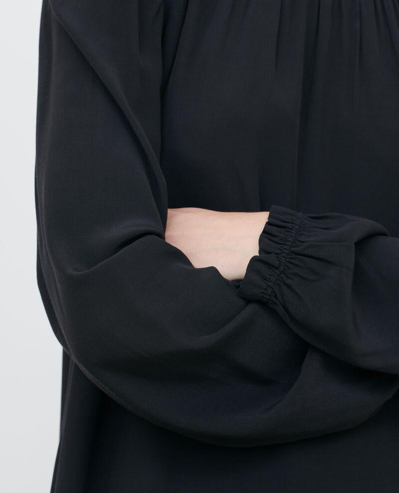 Robe courte à smocks Black beauty Pousson
