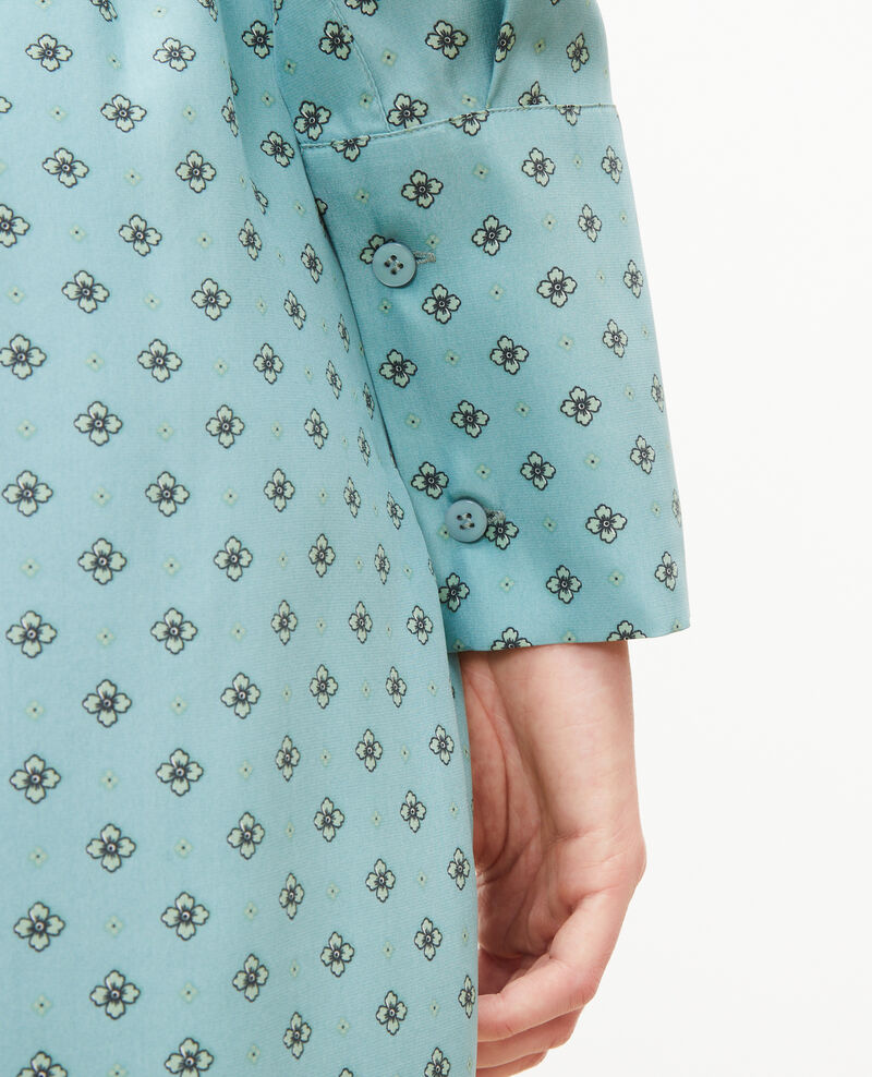 Robe chemise en soie ceinturée Print mosaique treillis Maridansa