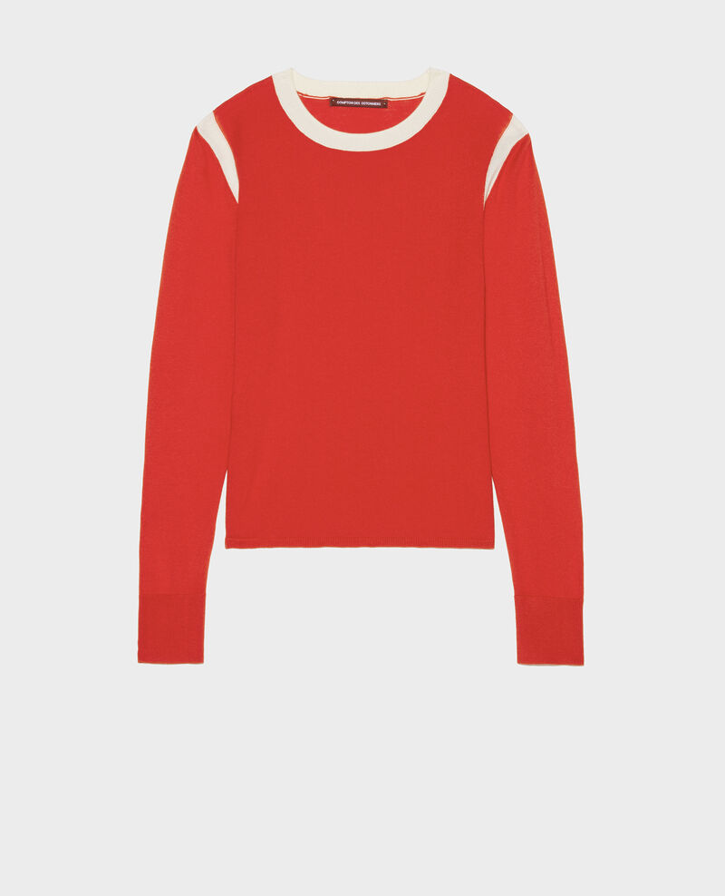 Pull soie coton cachemire Fiery red buttercream Lovina