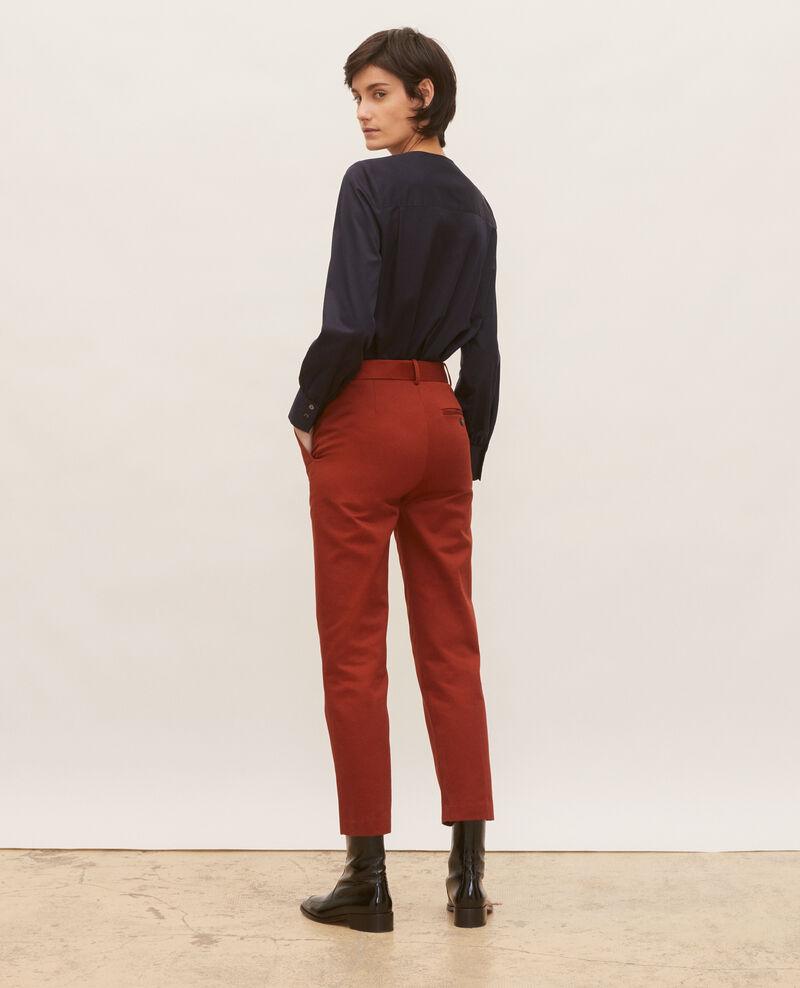 Pantalon chino 7/8e fuselé en coton Brandy brown Mezel