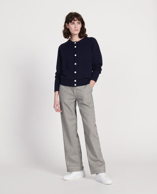 Cardigan col rond 100% laine MARITIME BLUE