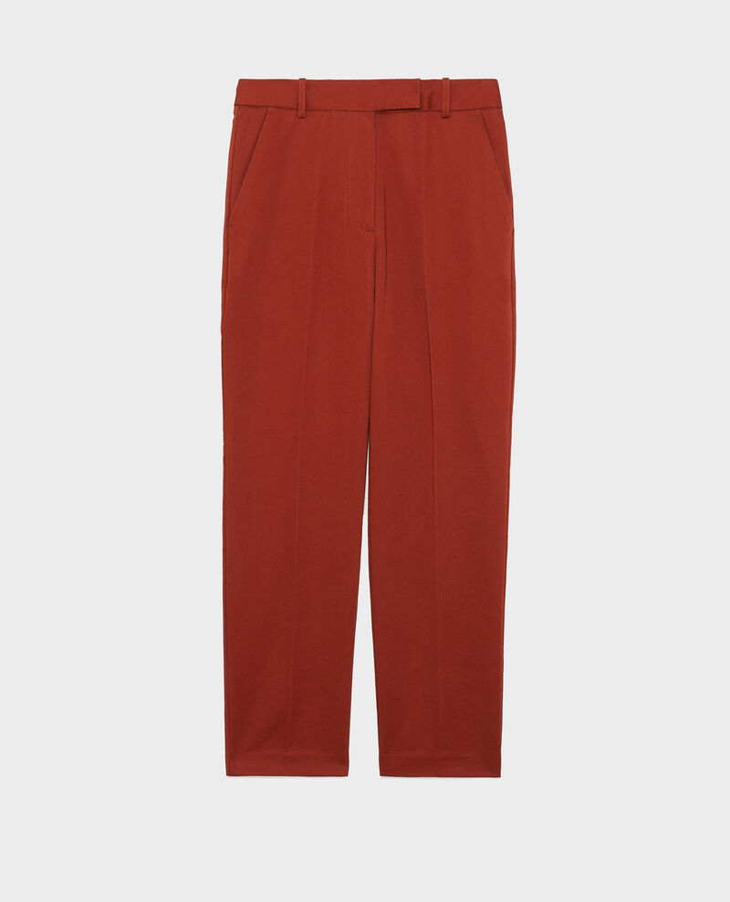 Pantalon chino 7/8e fuselé en coton Brandy brown Mezel