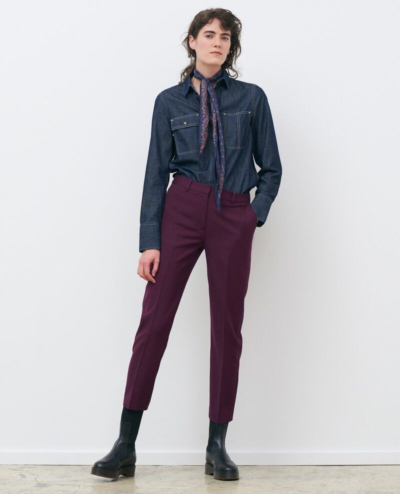 Pantalon MARGUERITE, 7/8e cigarette en laine Potent purple Noko