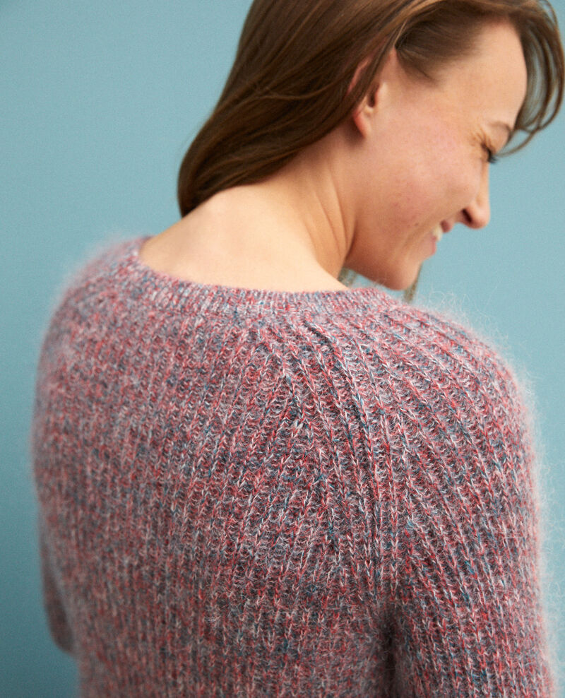 Pull chiné en mohair Pompeian red/ultra green/off white Girofle