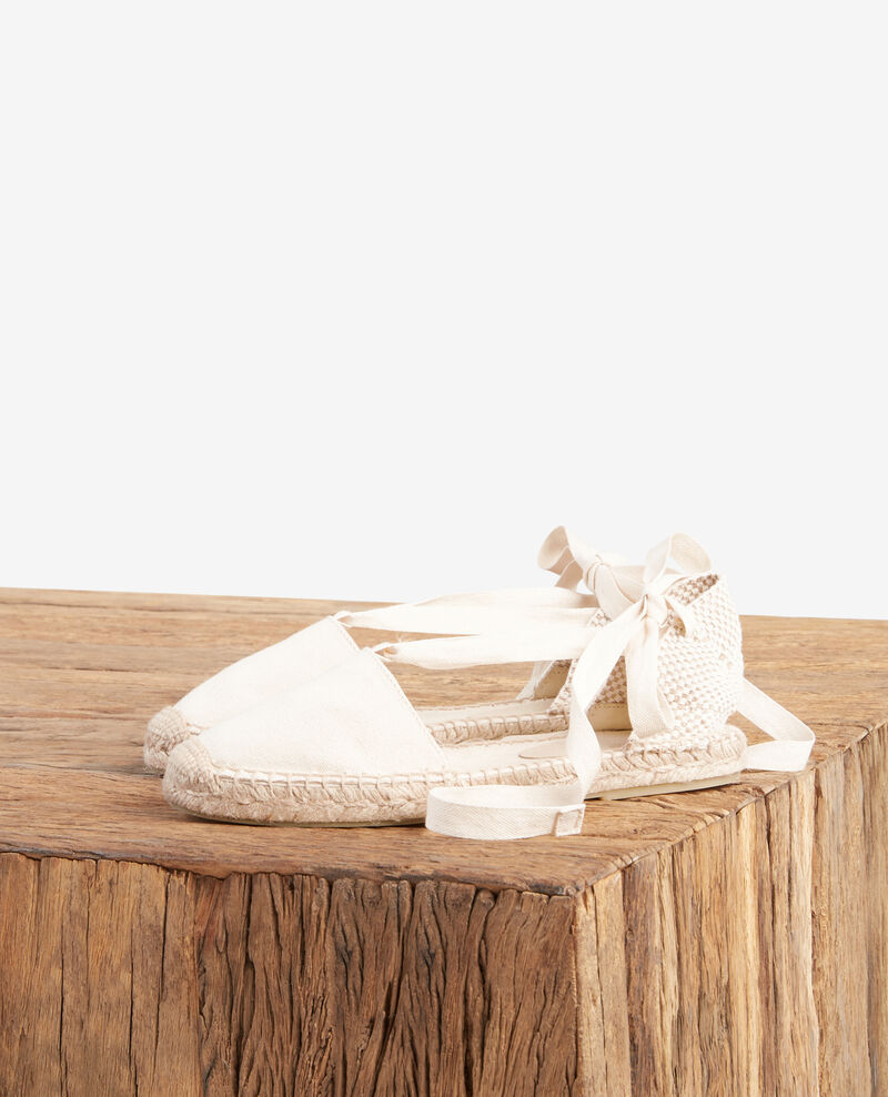 Espadrilles plates Ecru/sailor stripes Ferret