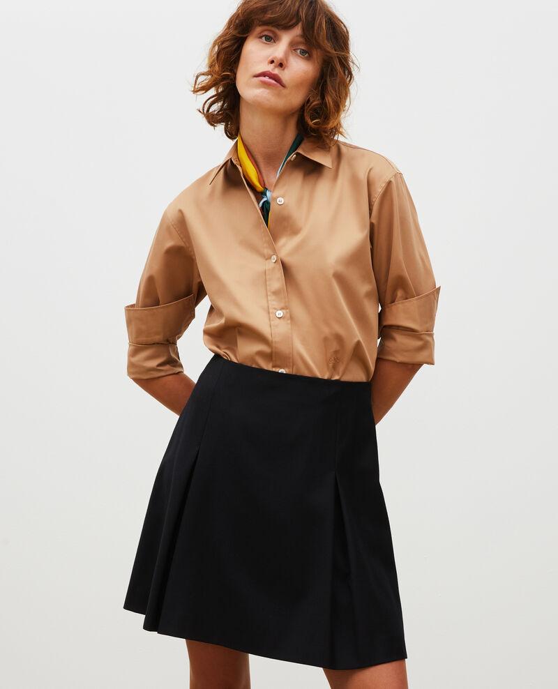 Jupe trapèze courte en flanelle laine Black beauty Marcoles