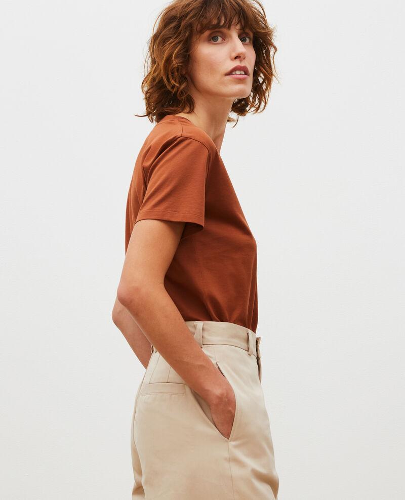 T-shirt en coton à manches courtes col V Tortoise shell Laberne