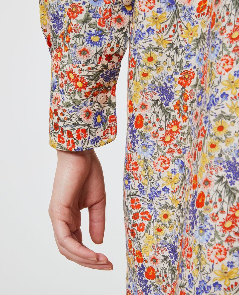 Robe chemise en coton et soie Prairie gardenia Nyonsaise