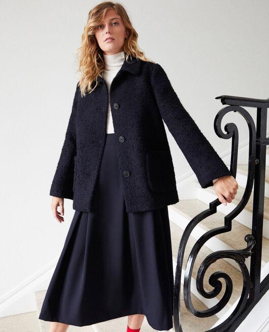 Manteau en laine bouillie NAVY