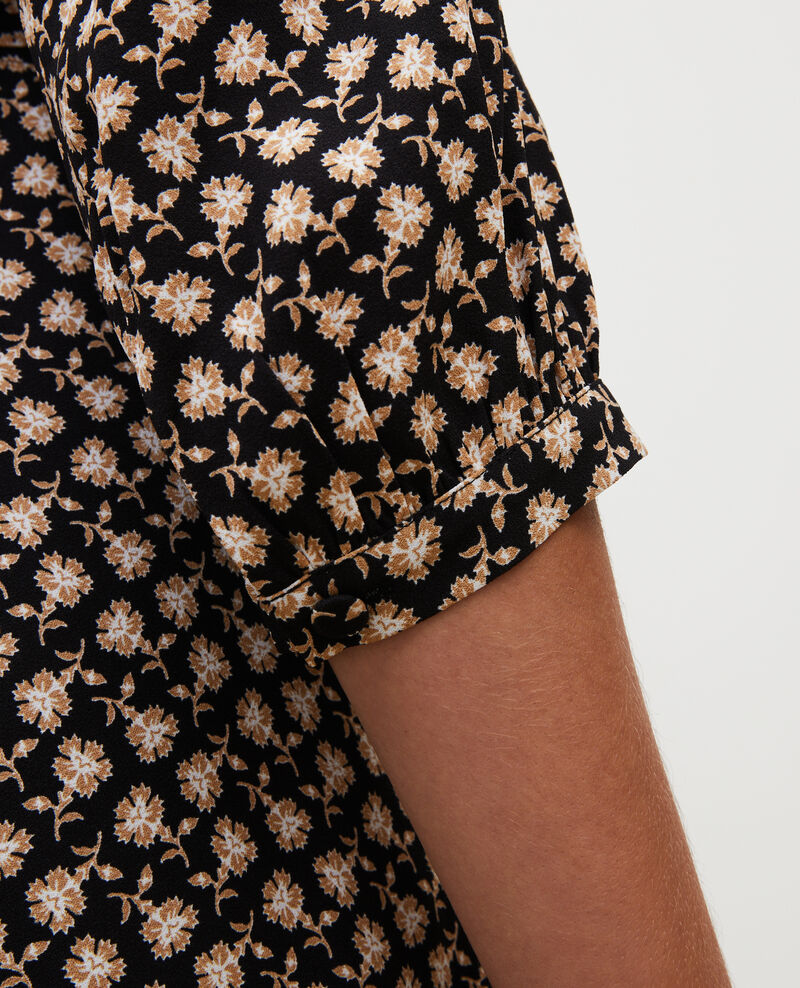 Robe portefeuille évasée à imprimé fleuri Print fleurettes black latte Miremonta