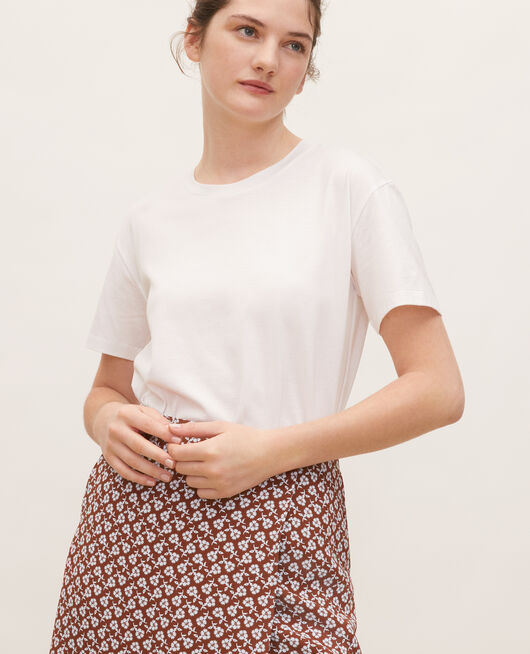 T-shirt coton manches courtes col rond OPTICAL WHITE