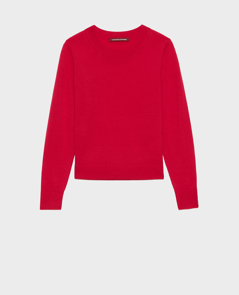Pull col rond en laine mérinos Persian red Passy