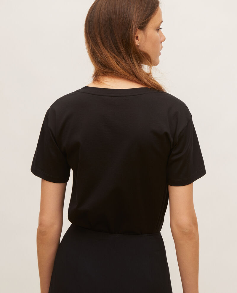 T-shirt en coton col V Black beauty Laberne
