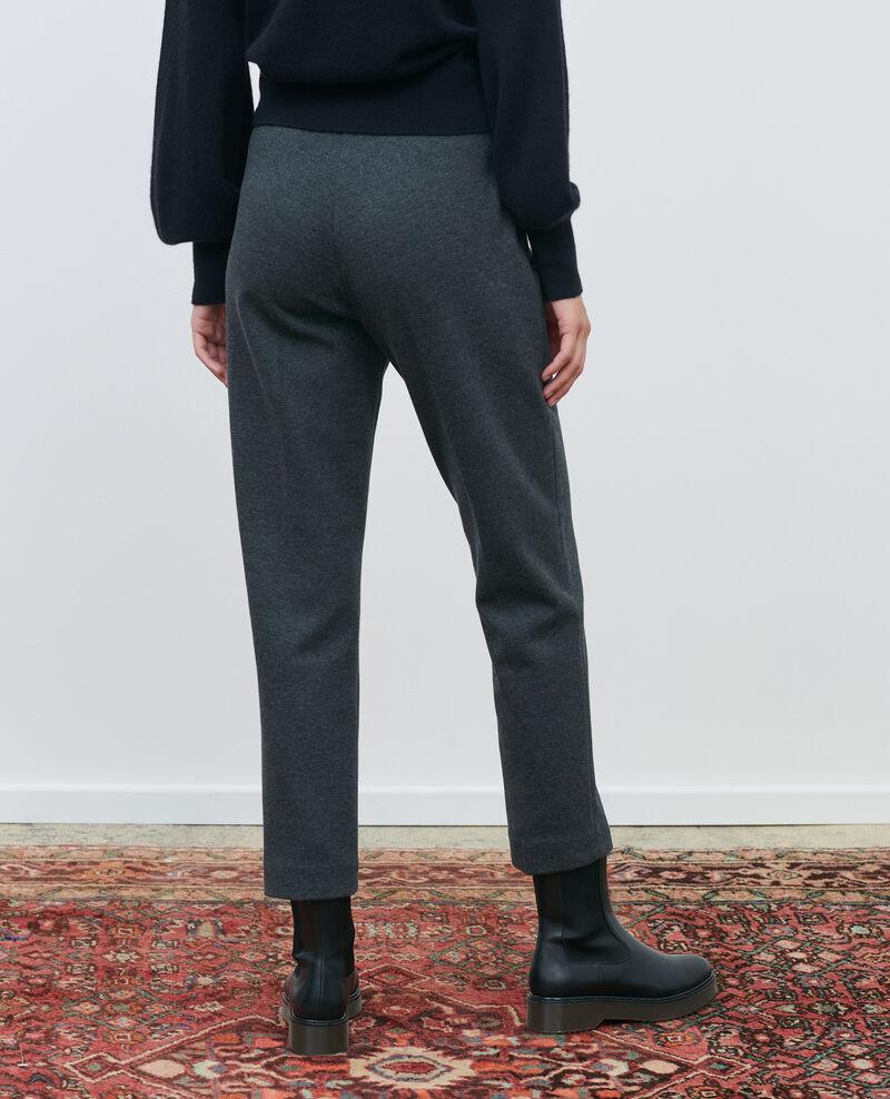 Pantalon MARGUERITE, ajusté 7/8e en laine Dark grey chine Pevy