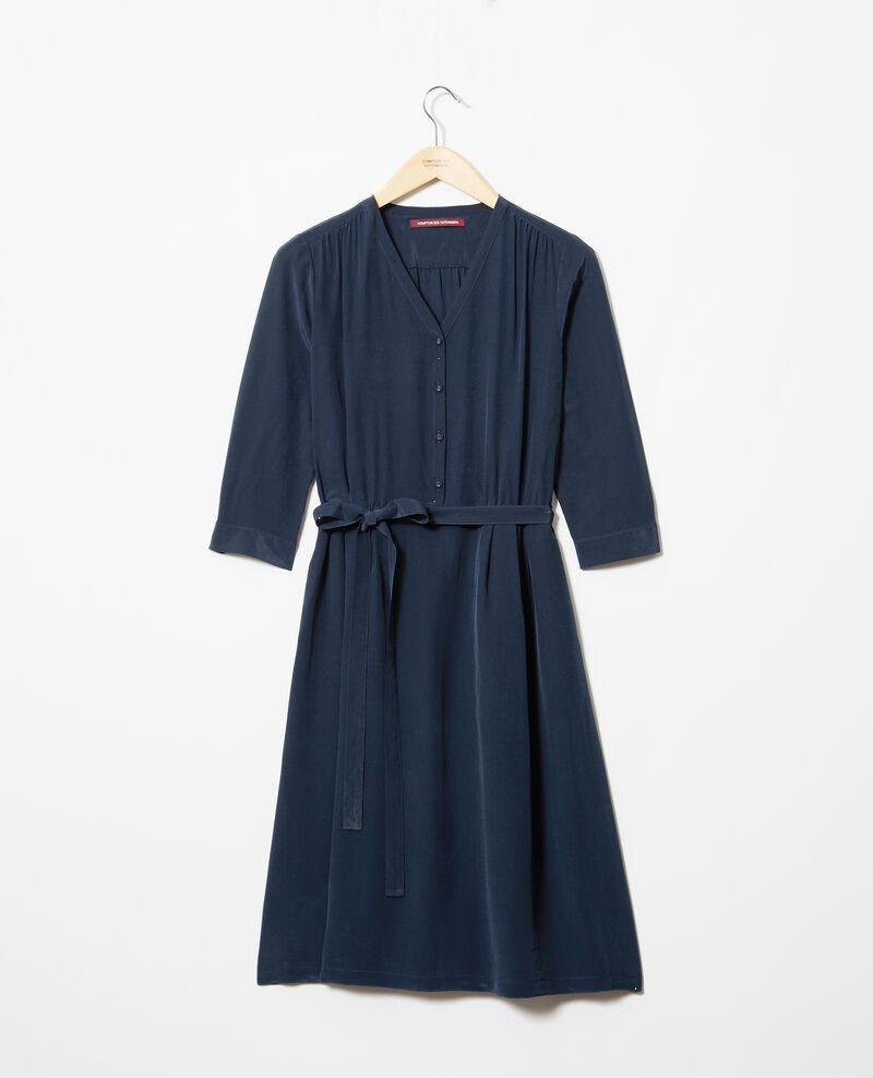 Robe mi-longue avec de la soie Ink navy Idalie