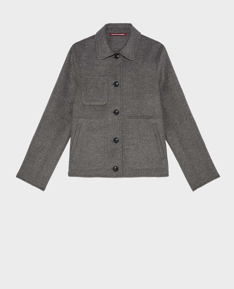 Veste en laine double face Medium grey melange Mauguio
