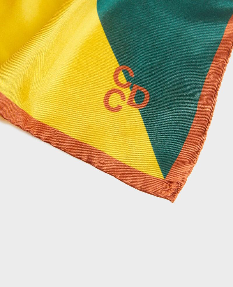 Foulard carré de soie multicolore Lemon curry Massana