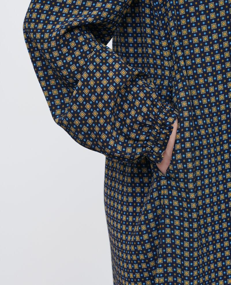 Robe courte à smocks Cravate green Poisson