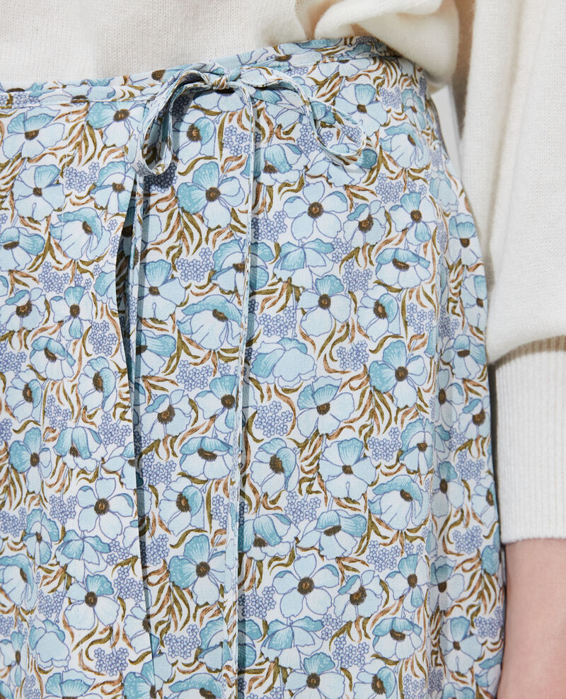 Jupe portefeuille courte en soie Art deco blue Palongue