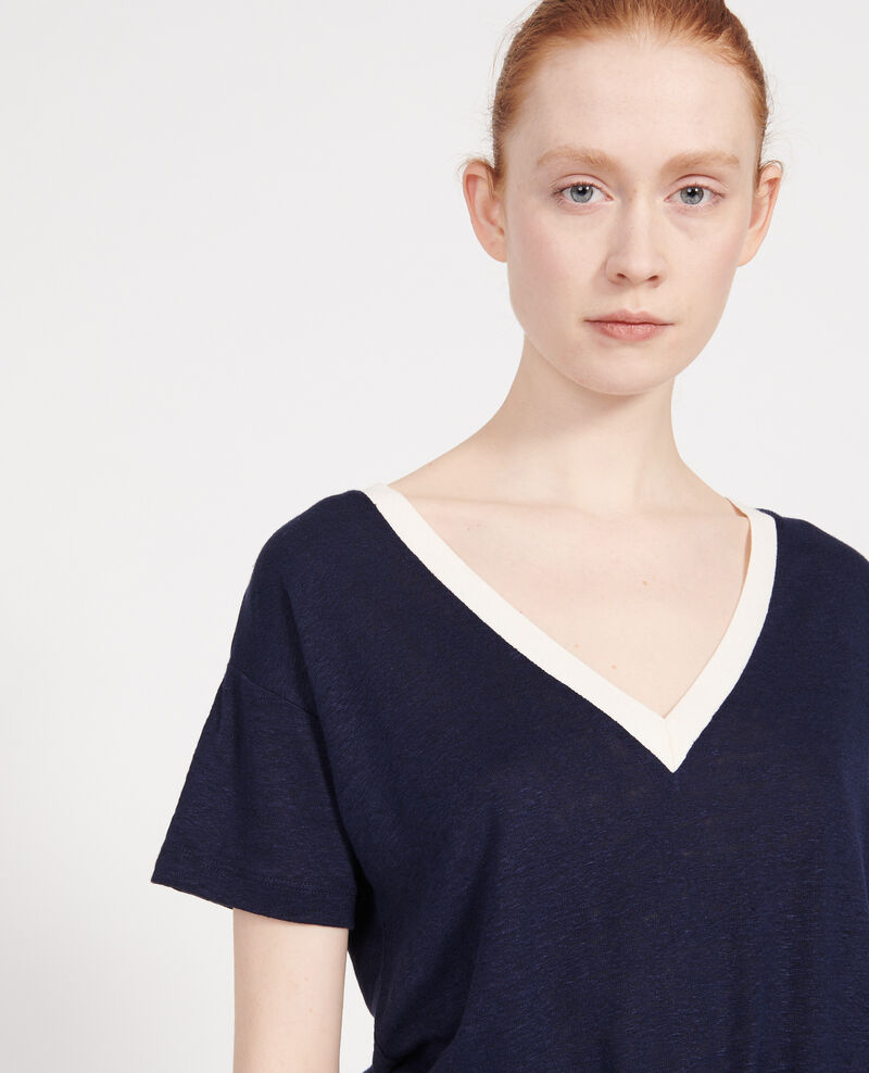 T-shirts en lin jersey Stripes maritime blue buttercream Locmelar