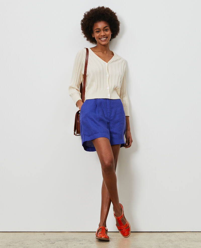 Short court en lin Royal blue Navillien